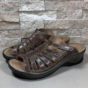 Josef Seibel Sandals Shoes 9.5 Leather Brown Slide